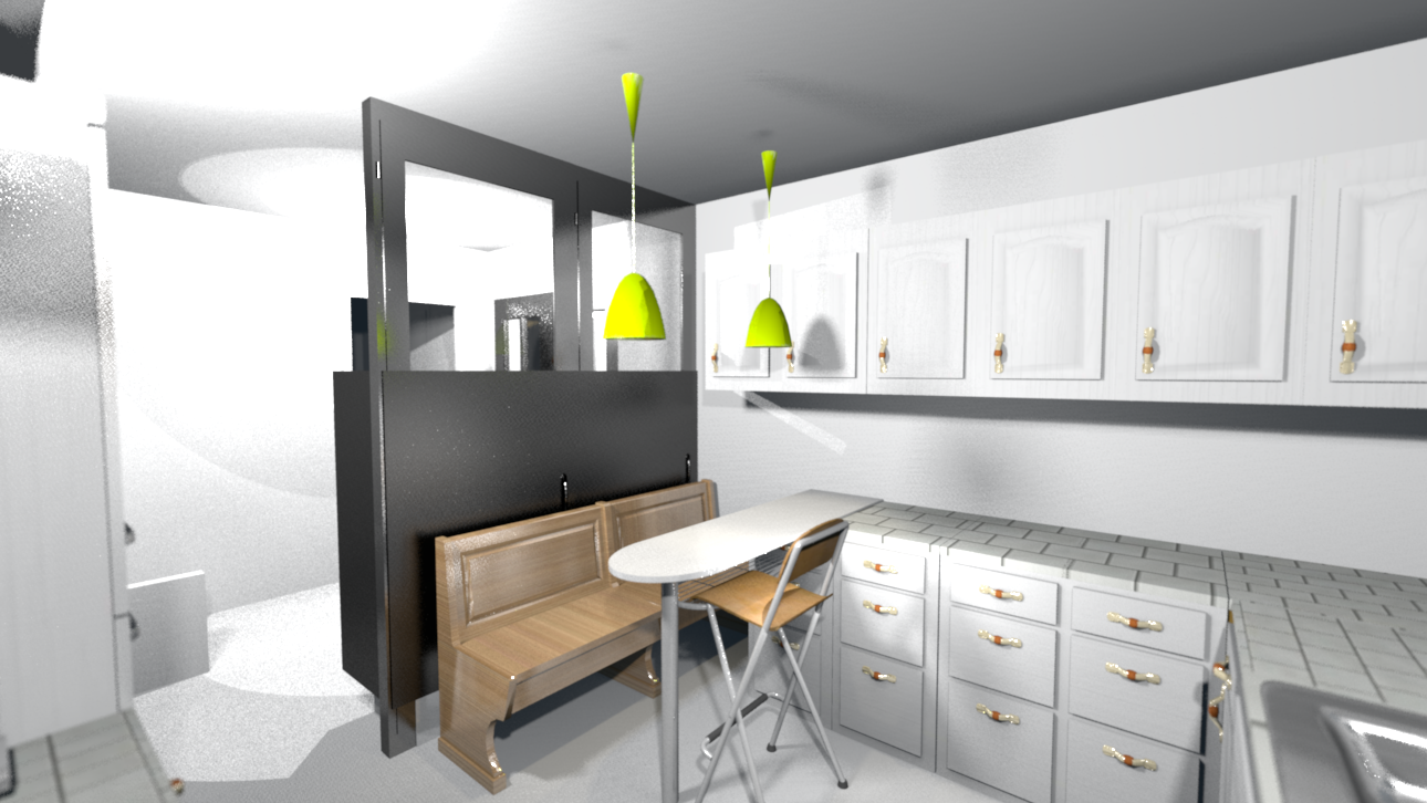 Tude des volumes architecture int rieur d 39 un couloir en - Amenagement arriere cuisine ...