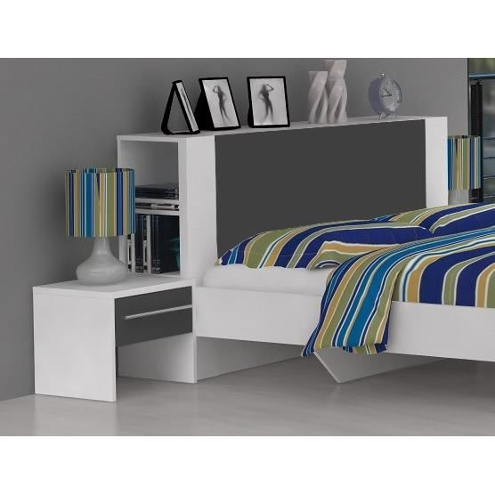 lit avec rangement et d coration de t te de lit. Black Bedroom Furniture Sets. Home Design Ideas