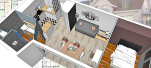 plan d'architecte en 3D