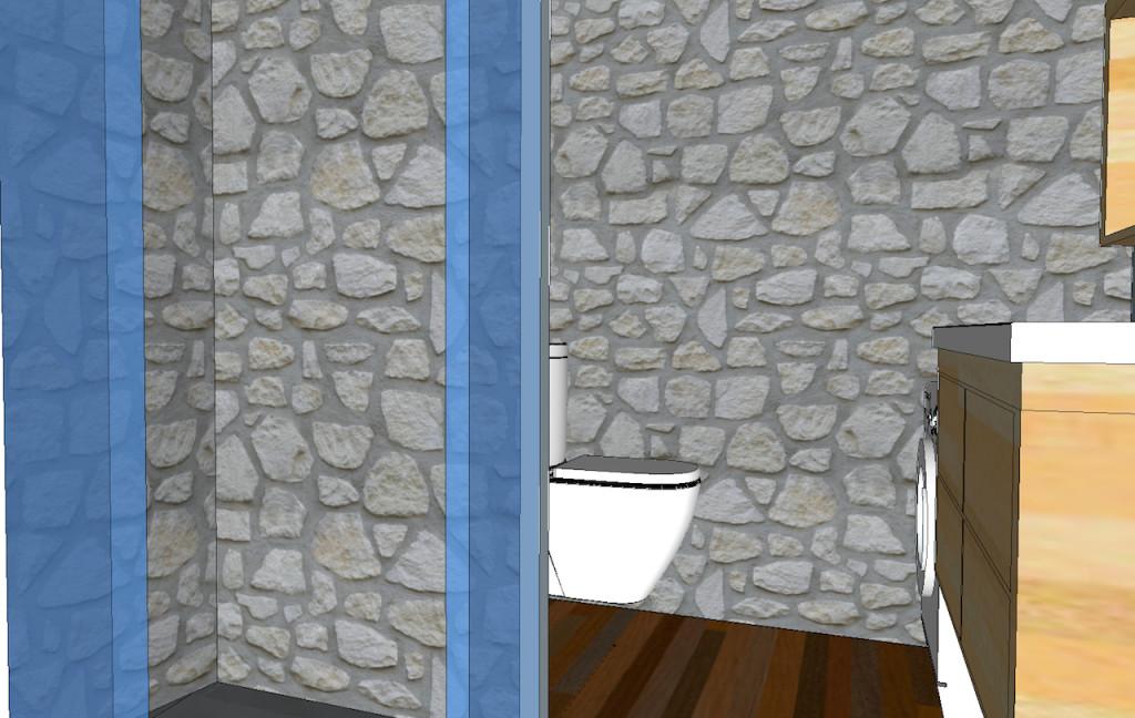 salle de bains mur en pierre