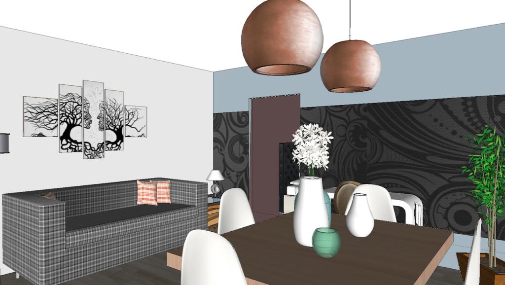 esquisses salon décoré avec gros luminaires
