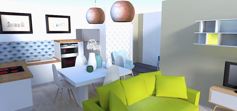 image 3D salon ouvert sur cuisine