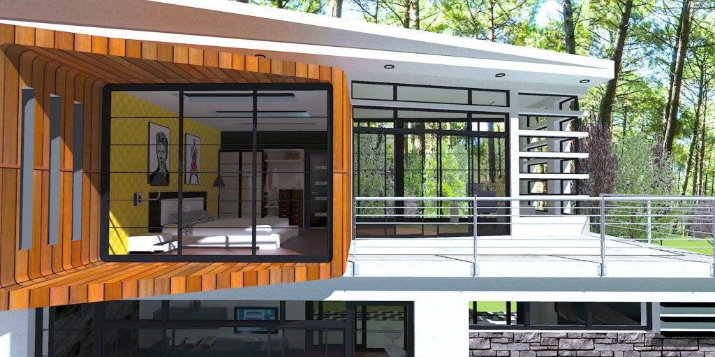 maison contemporaine vue chambre jaune