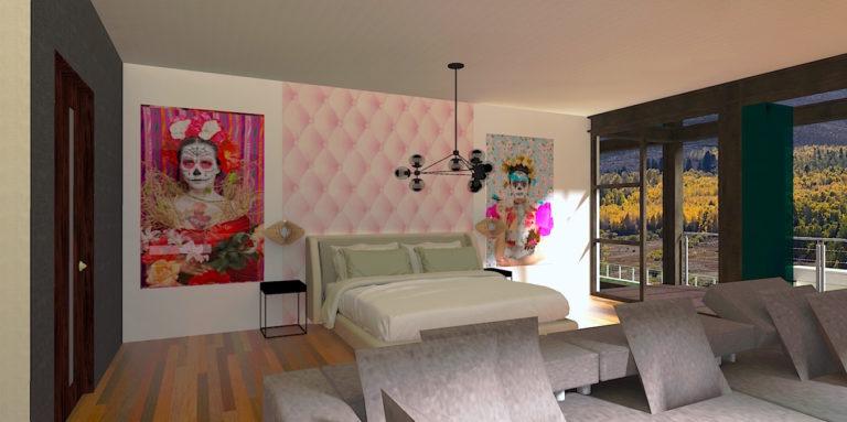chambre parentale rose et grise