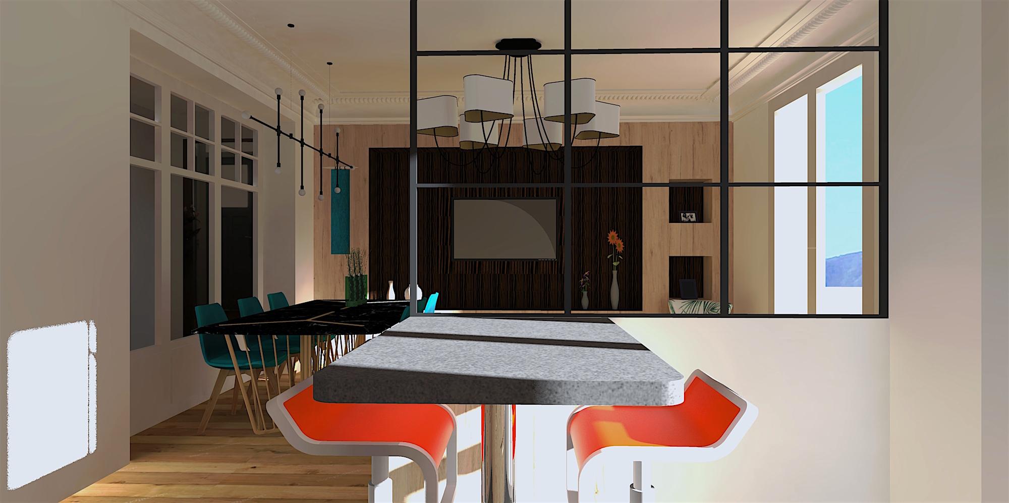 salle a manger cuisine avec verrière