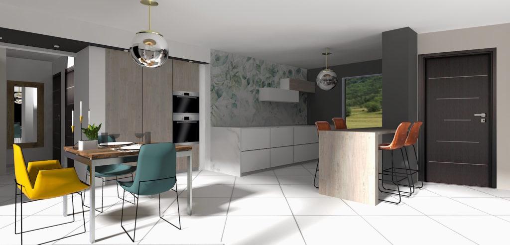 cuisine d'architecte contemporaine bois et marbre blanc